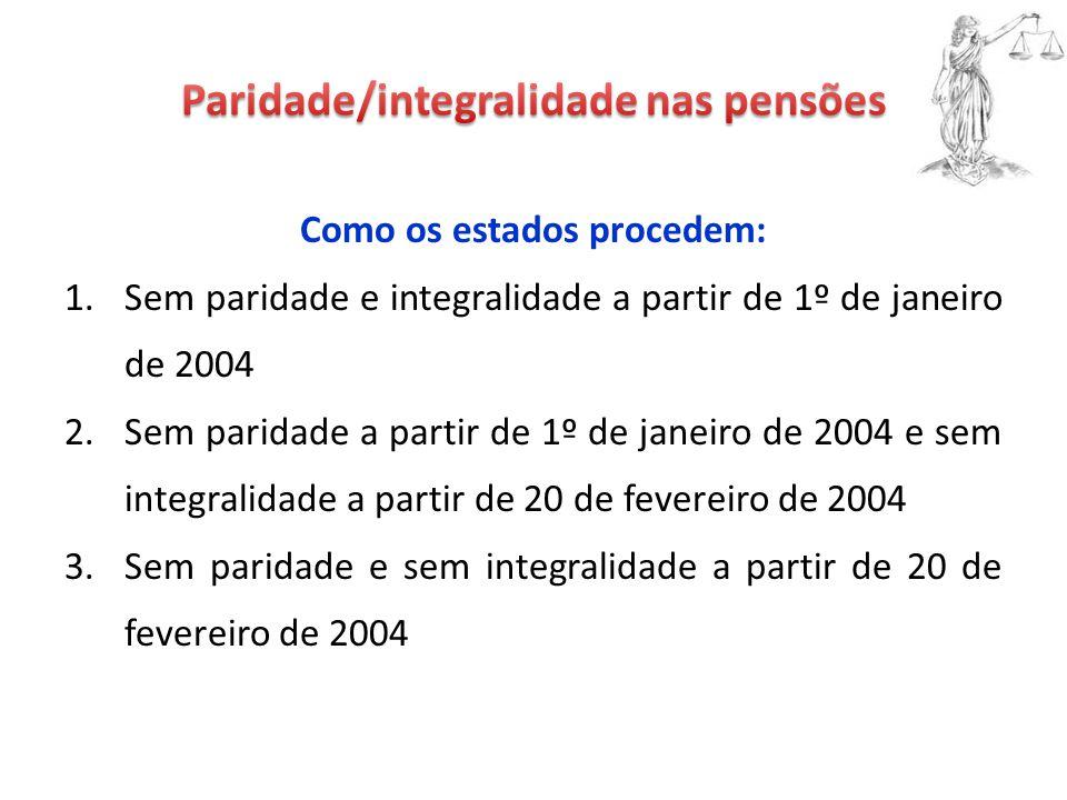 Como os estados procedem: 1.Sem paridade e integralidade a partir de 1º de janeiro de 2004 2.Sem paridade a partir de 1º de janeiro de 2004 e sem integralidade a partir de 20 de fevereiro de 2004 3.Sem paridade e sem integralidade a partir de 20 de fevereiro de 2004