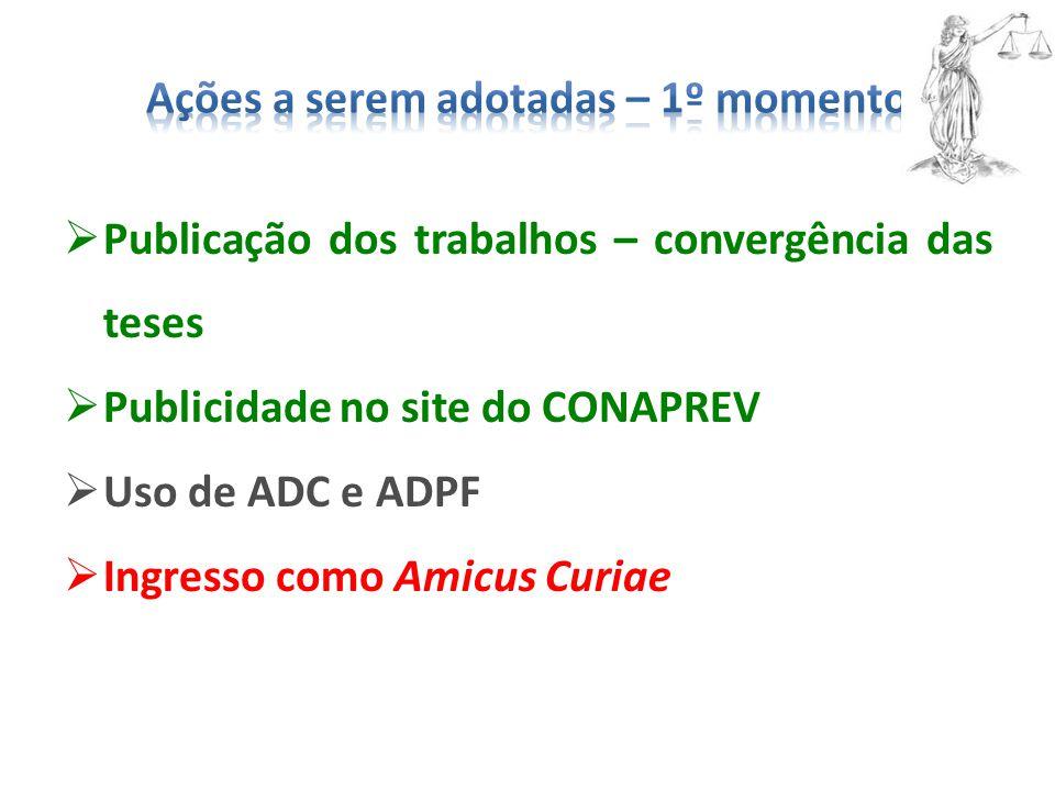  Publicação dos trabalhos – convergência das teses  Publicidade no site do CONAPREV  Uso de ADC e ADPF  Ingresso como Amicus Curiae