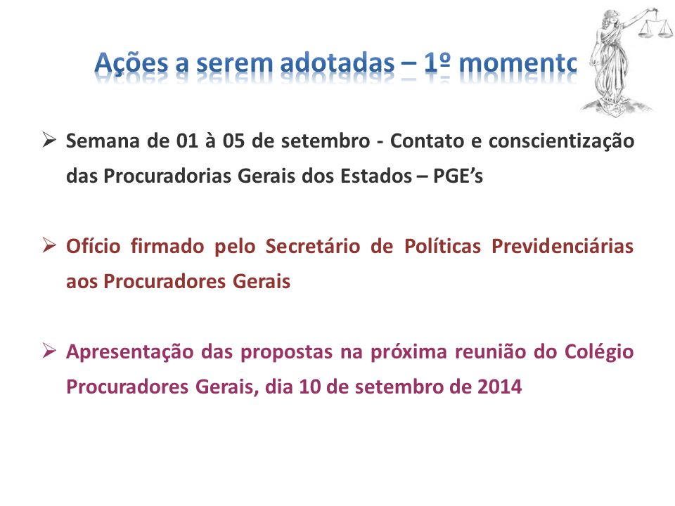  Semana de 01 à 05 de setembro - Contato e conscientização das Procuradorias Gerais dos Estados – PGE's  Ofício firmado pelo Secretário de Políticas