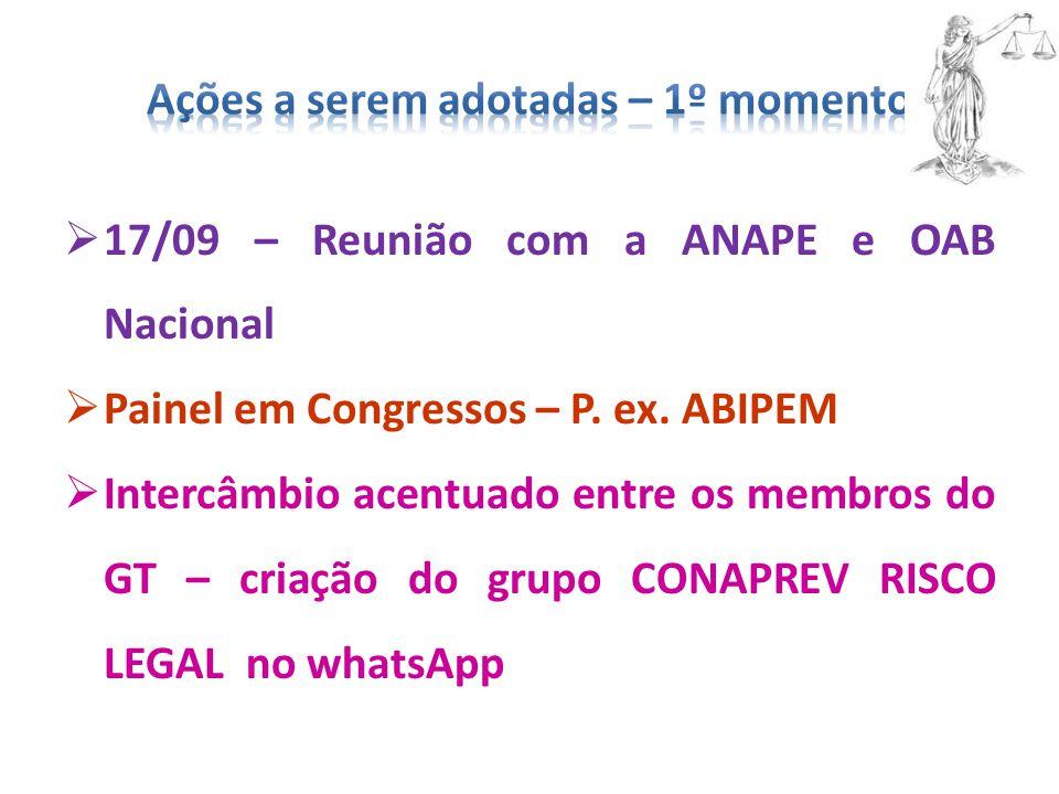  17/09 – Reunião com a ANAPE e OAB Nacional  Painel em Congressos – P. ex. ABIPEM  Intercâmbio acentuado entre os membros do GT – criação do grupo