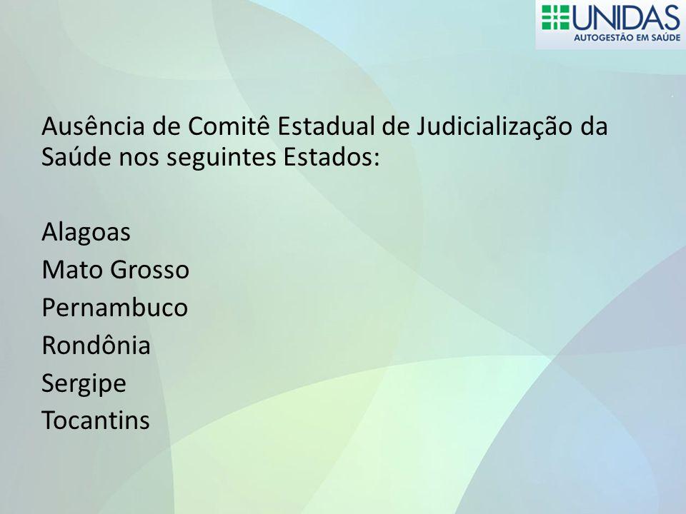 Ausência de Comitê Estadual de Judicialização da Saúde nos seguintes Estados: Alagoas Mato Grosso Pernambuco Rondônia Sergipe Tocantins