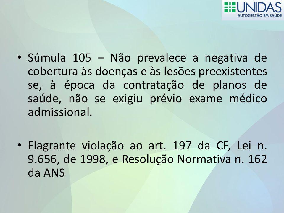 Súmula 105 – Não prevalece a negativa de cobertura às doenças e às lesões preexistentes se, à época da contratação de planos de saúde, não se exigiu prévio exame médico admissional.