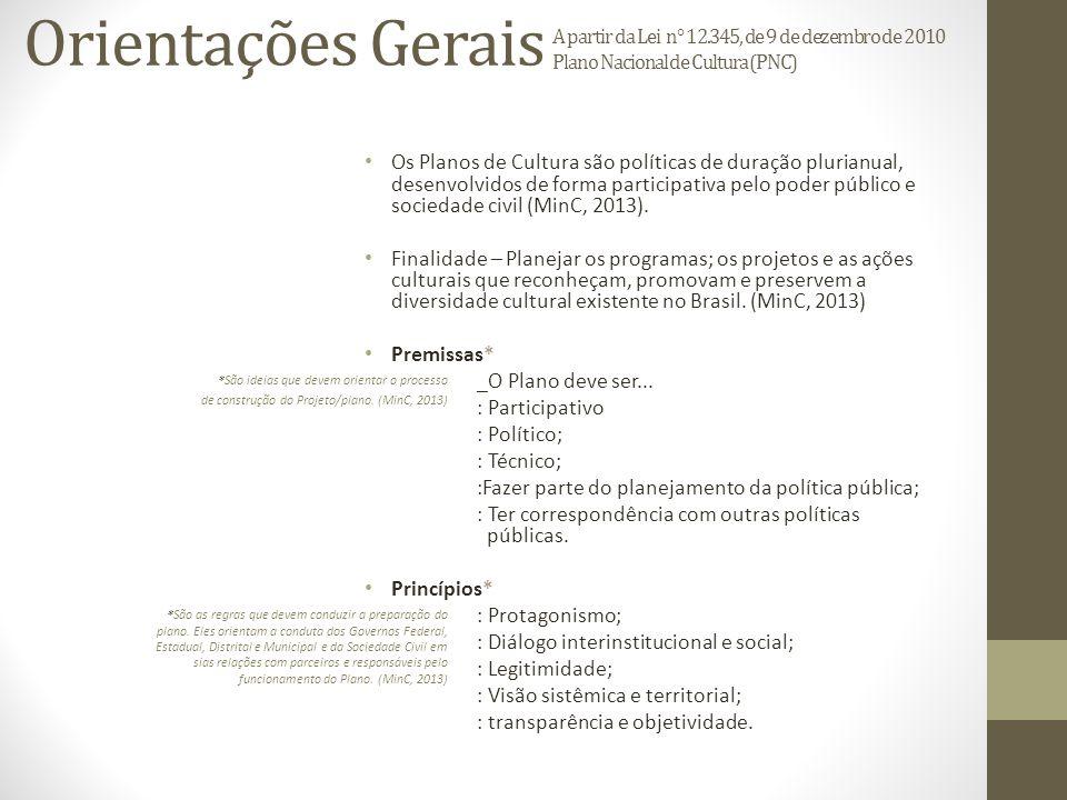 Orientações Gerais A partir da Lei n° 12.345, de 9 de dezembro de 2010 Plano Nacional de Cultura (PNC) Os Planos de Cultura são políticas de duração plurianual, desenvolvidos de forma participativa pelo poder público e sociedade civil (MinC, 2013).