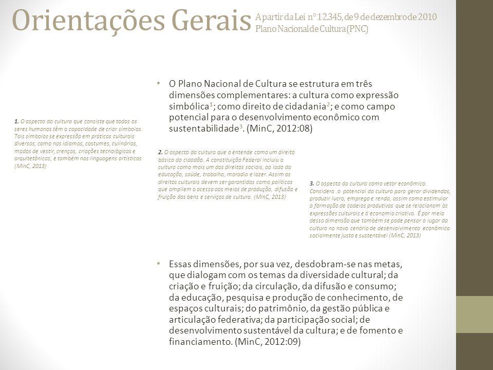 Orientações Gerais A partir da Lei n° 12.345, de 9 de dezembro de 2010 Plano Nacional de Cultura (PNC) O Plano Nacional de Cultura se estrutura em três dimensões complementares: a cultura como expressão simbólica 1 ; como direito de cidadania 2 ; e como campo potencial para o desenvolvimento econômico com sustentabilidade 3.