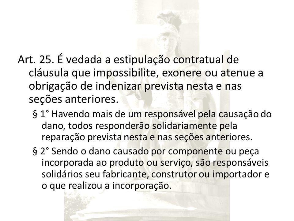 Art. 25. É vedada a estipulação contratual de cláusula que impossibilite, exonere ou atenue a obrigação de indenizar prevista nesta e nas seções anter