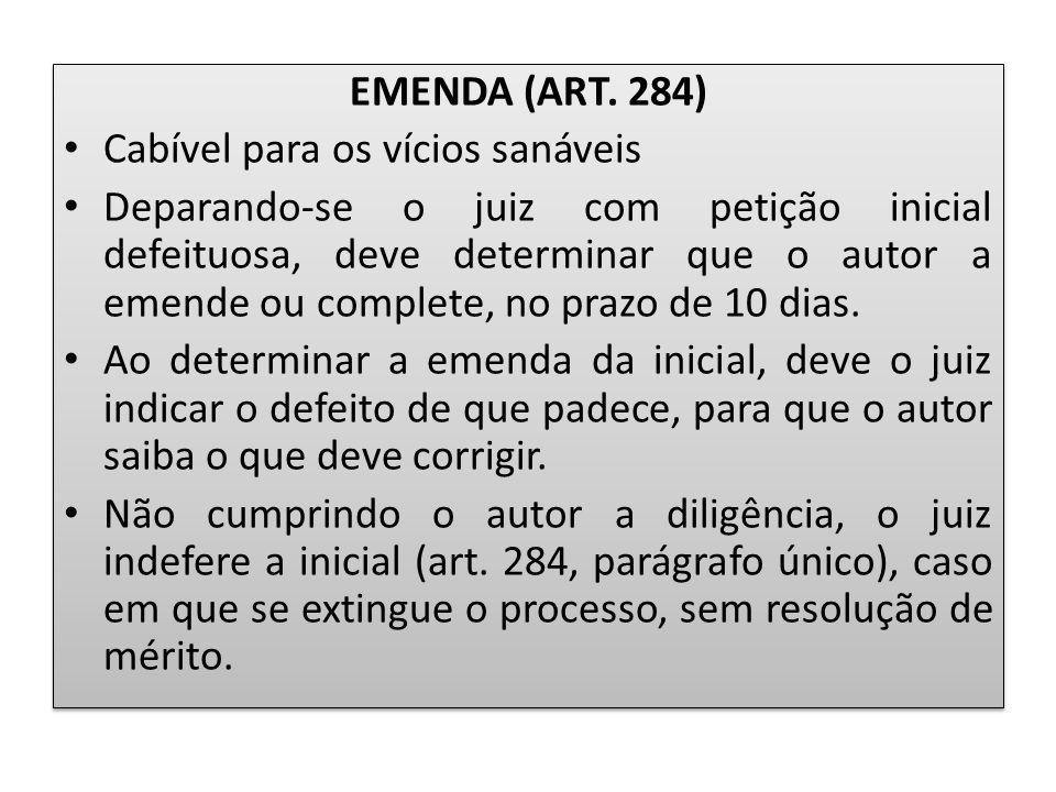 EMENDA (ART. 284) Cabível para os vícios sanáveis Deparando-se o juiz com petição inicial defeituosa, deve determinar que o autor a emende ou complete