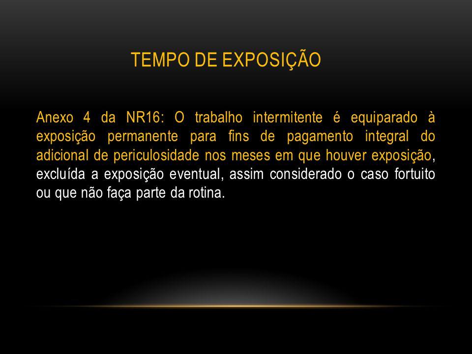 TEMPO DE EXPOSIÇÃO Anexo 4 da NR16: O trabalho intermitente é equiparado à exposição permanente para fins de pagamento integral do adicional de pericu