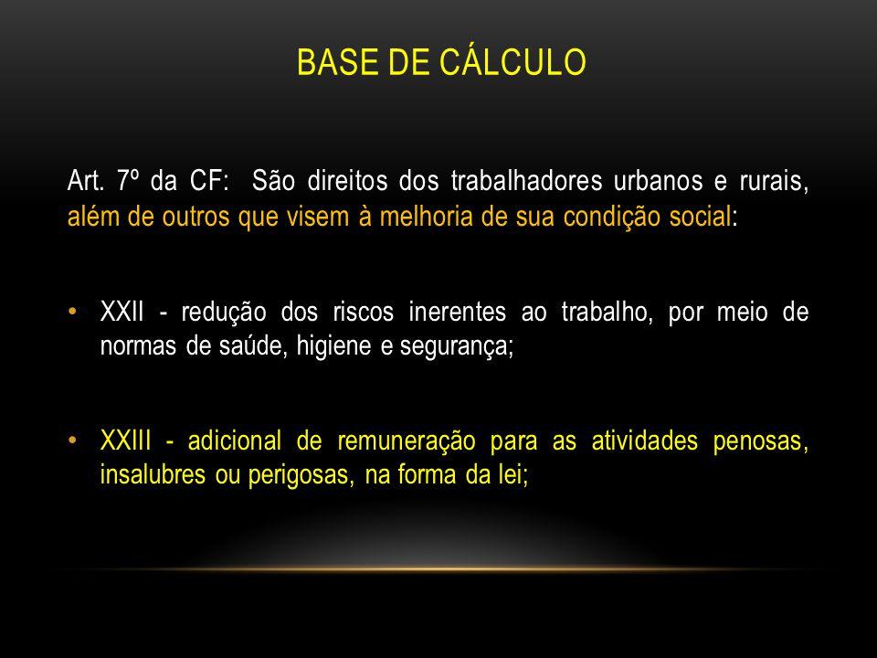 BASE DE CÁLCULO Art. 7º da CF: São direitos dos trabalhadores urbanos e rurais, além de outros que visem à melhoria de sua condição social: XXII - red