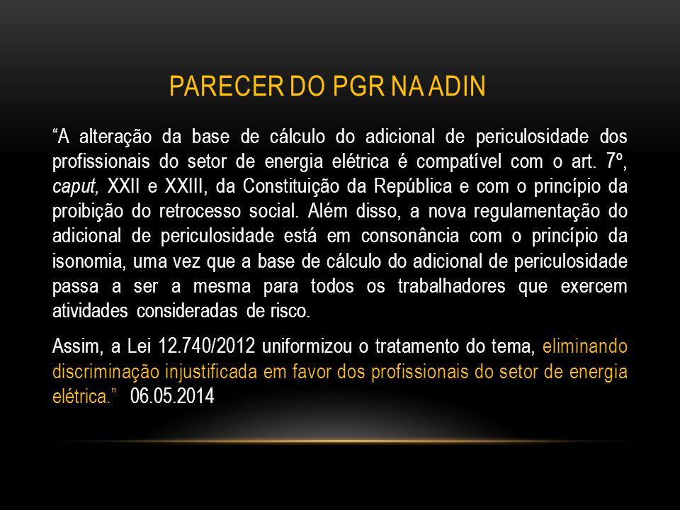 """PARECER DO PGR NA ADIN """"A alteração da base de cálculo do adicional de periculosidade dos profissionais do setor de energia elétrica é compatível com"""