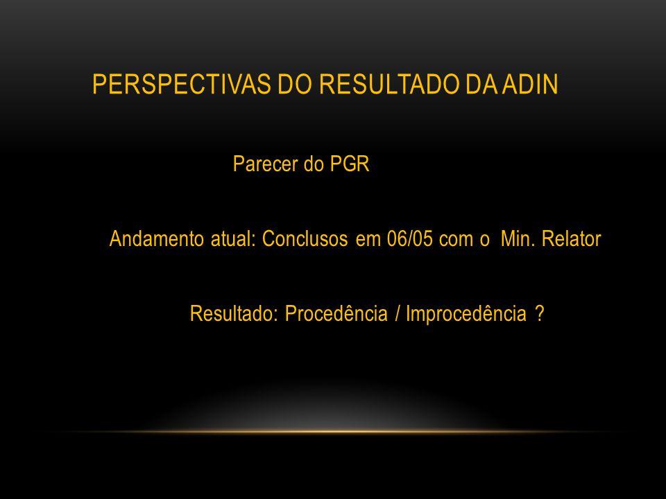 PERSPECTIVAS DO RESULTADO DA ADIN Parecer do PGR Andamento atual: Conclusos em 06/05 com o Min. Relator Resultado: Procedência / Improcedência ?