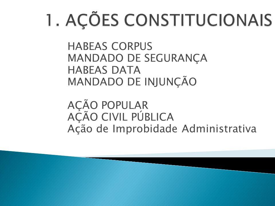 HABEAS CORPUS MANDADO DE SEGURANÇA HABEAS DATA MANDADO DE INJUNÇÃO AÇÃO POPULAR AÇÃO CIVIL PÚBLICA Ação de Improbidade Administrativa