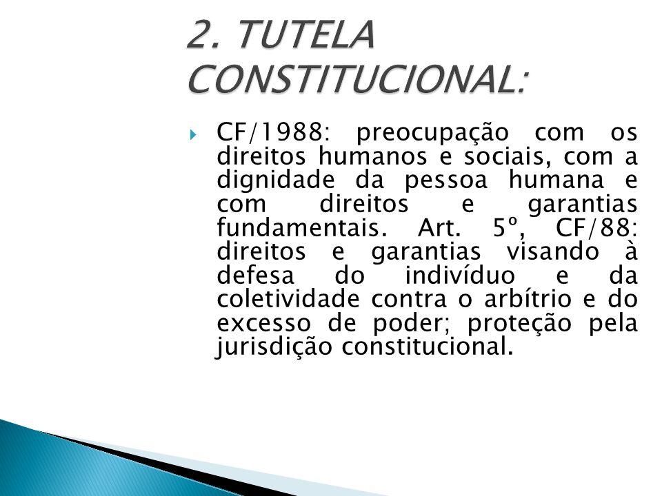  CF/1988: preocupação com os direitos humanos e sociais, com a dignidade da pessoa humana e com direitos e garantias fundamentais.