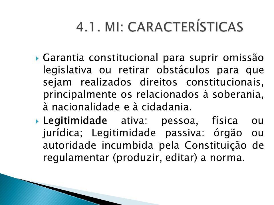  Garantia constitucional para suprir omissão legislativa ou retirar obstáculos para que sejam realizados direitos constitucionais, principalmente os relacionados à soberania, à nacionalidade e à cidadania.