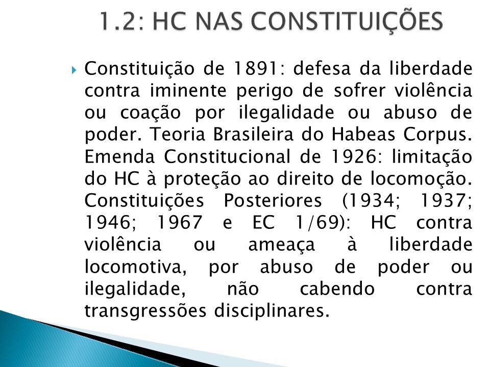  Constituição de 1891: defesa da liberdade contra iminente perigo de sofrer violência ou coação por ilegalidade ou abuso de poder.