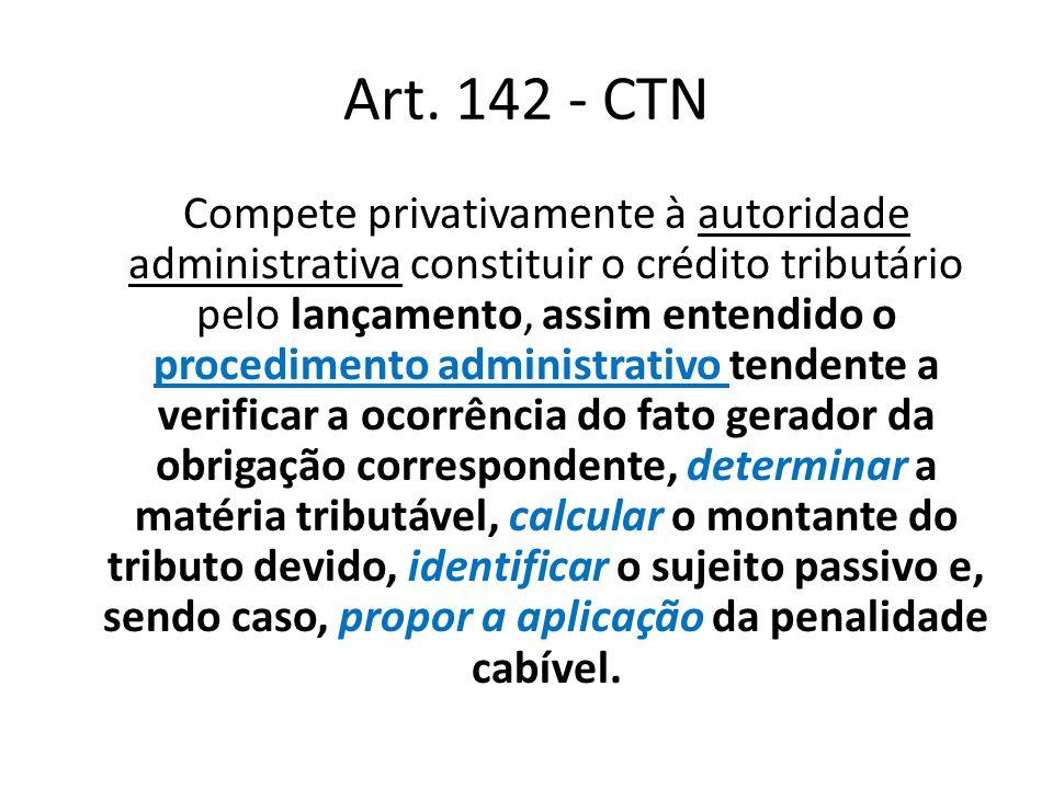 Art. 142 - CTN Compete privativamente à autoridade administrativa constituir o crédito tributário pelo lançamento, assim entendido o procedimento admi