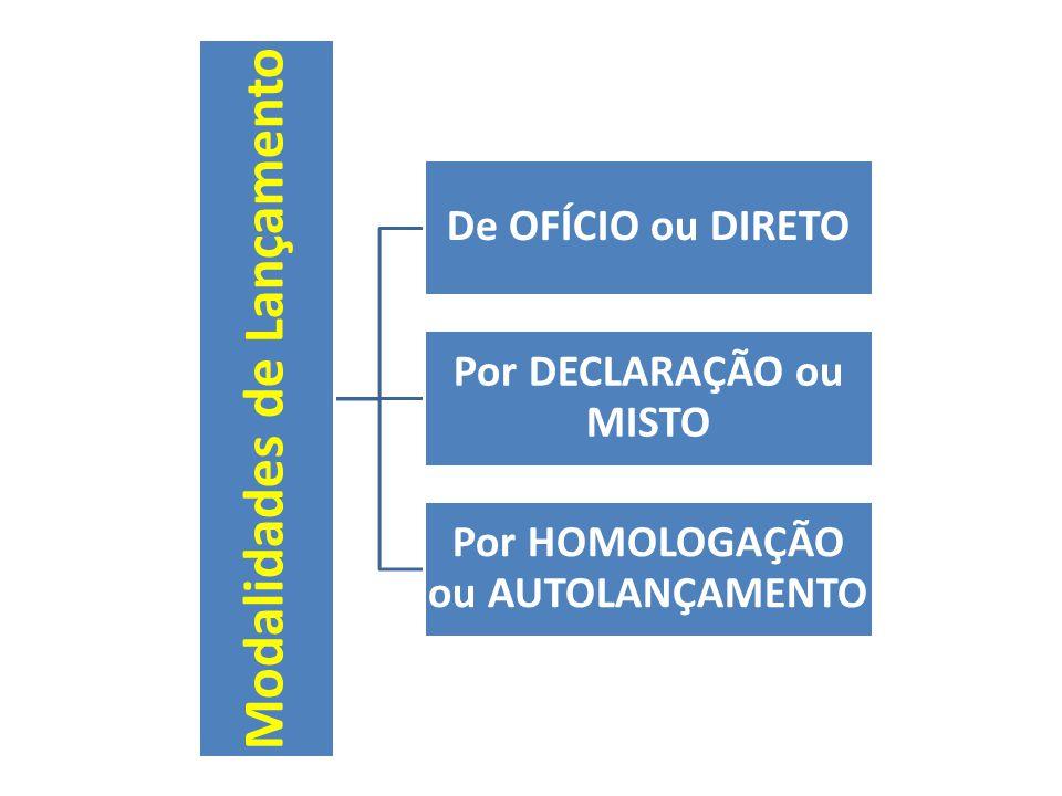 Modalidades de Lançamento De OFÍCIO ou DIRETO Por DECLARAÇÃO ou MISTO Por HOMOLOGAÇÃO ou AUTOLANÇAMENTO