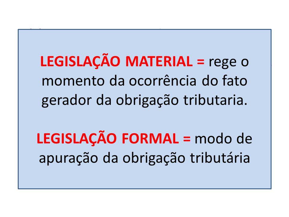 (2) Legislação Formal – é aquela que regula o modo de apuração da obrigação tributaria, disciplinando como deve ser o procedimento de lançamento, mas