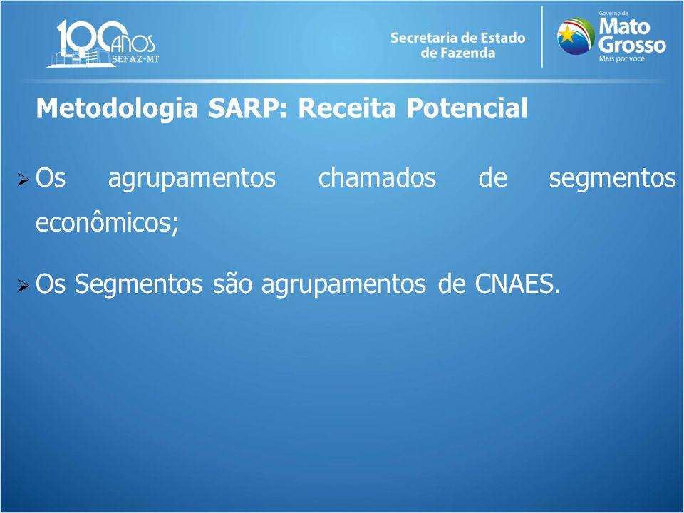  Os agrupamentos chamados de segmentos econômicos;  Os Segmentos são agrupamentos de CNAES. Metodologia SARP: Receita Potencial