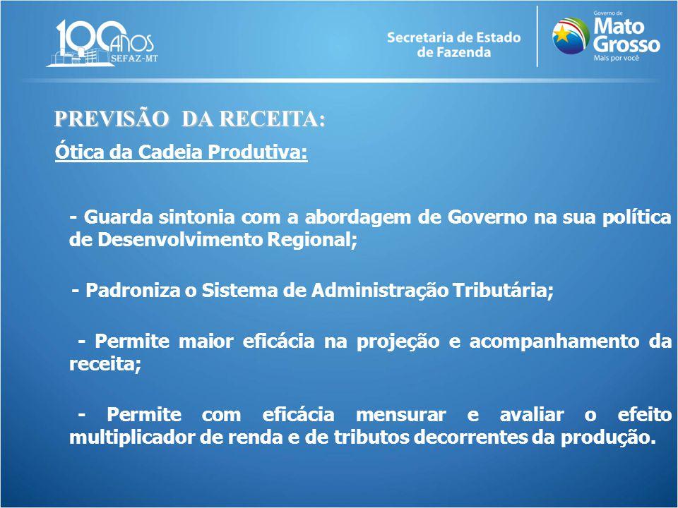 Ótica da Cadeia Produtiva: - Guarda sintonia com a abordagem de Governo na sua política de Desenvolvimento Regional; - Padroniza o Sistema de Administ
