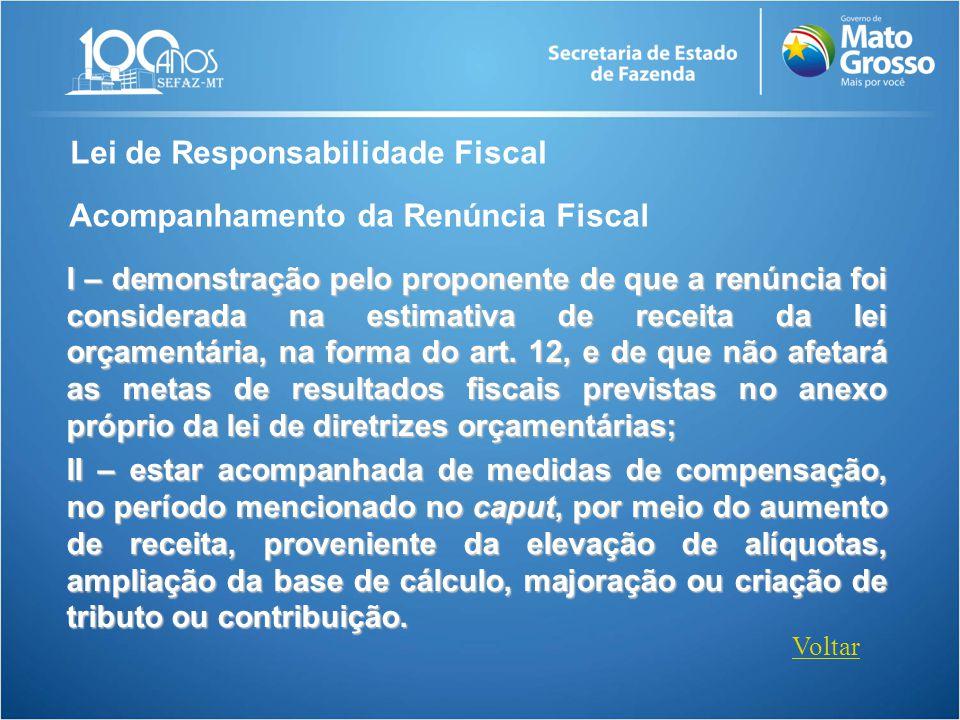 Lei de Responsabilidade Fiscal Acompanhamento da Renúncia Fiscal I – demonstração pelo proponente de que a renúncia foi considerada na estimativa de r
