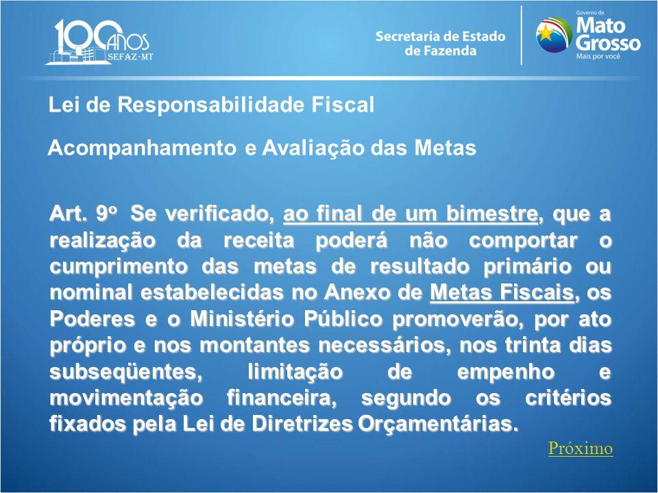 Lei de Responsabilidade Fiscal Acompanhamento e Avaliação das Metas Art. 9 o Se verificado, ao final de um bimestre, que a realização da receita poder