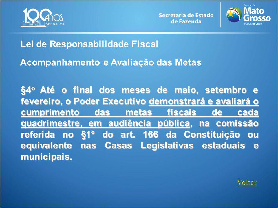 Lei de Responsabilidade Fiscal Acompanhamento e Avaliação das Metas §4 o Até o final dos meses de maio, setembro e fevereiro, o Poder Executivo demons