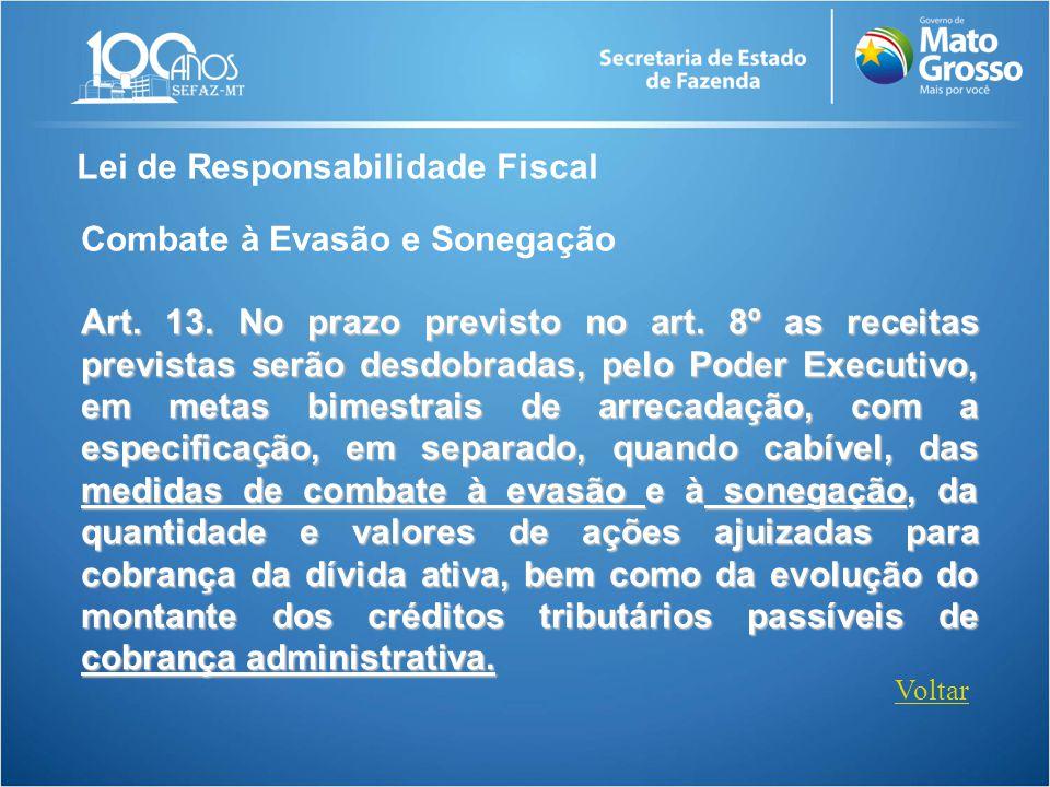 Lei de Responsabilidade Fiscal Art. 13. No prazo previsto no art. 8º as receitas previstas serão desdobradas, pelo Poder Executivo, em metas bimestrai