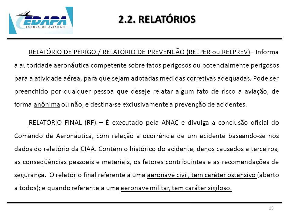15 2.2. RELATÓRIOS RELATÓRIO DE PERIGO / RELATÓRIO DE PREVENÇÃO (RELPER ou RELPREV)– Informa a autoridade aeronáutica competente sobre fatos perigosos