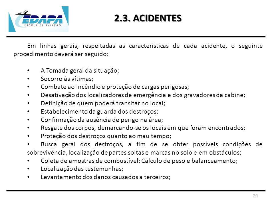 20 2.3. ACIDENTES Em linhas gerais, respeitadas as características de cada acidente, o seguinte procedimento deverá ser seguido: A Tomada geral da sit