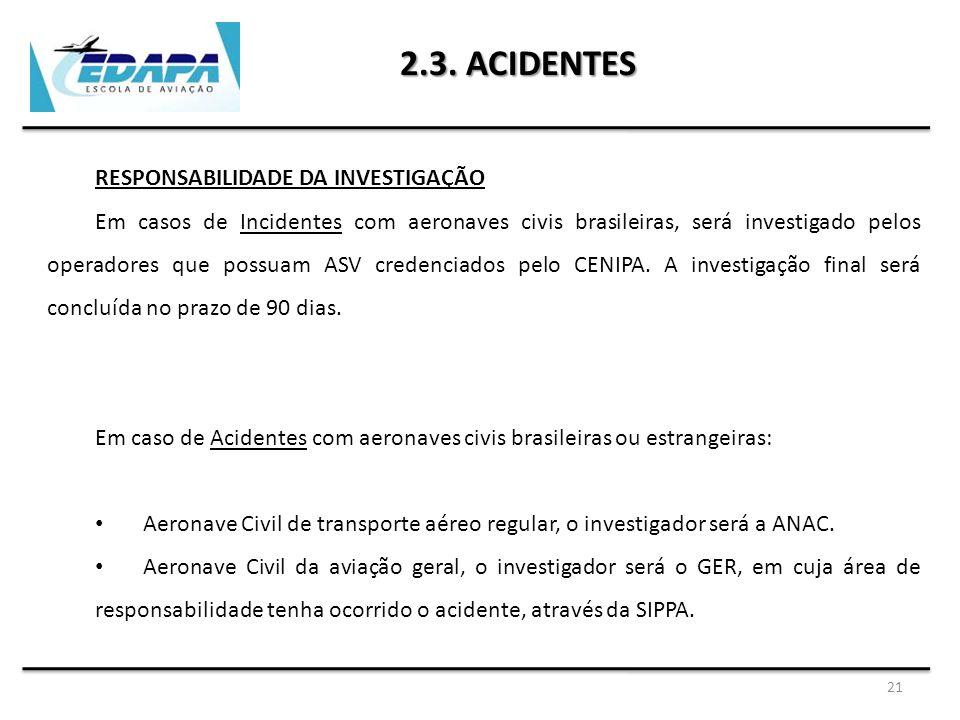 21 2.3. ACIDENTES RESPONSABILIDADE DA INVESTIGAÇÃO Em casos de Incidentes com aeronaves civis brasileiras, será investigado pelos operadores que possu