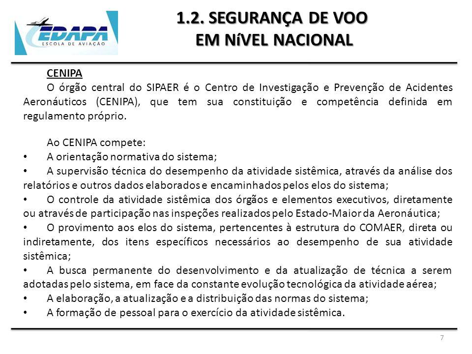 7 1.2. SEGURANÇA DE VOO EM NíVEL NACIONAL CENIPA O órgão central do SIPAER é o Centro de Investigação e Prevenção de Acidentes Aeronáuticos (CENIPA),