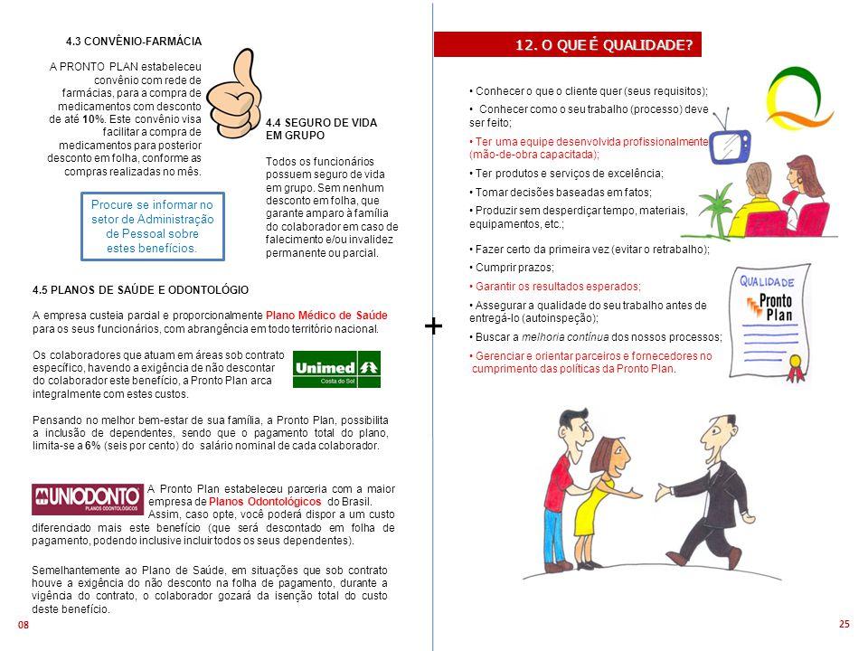 25 08 + 4.3 CONVÊNIO-FARMÁCIA A PRONTO PLAN estabeleceu convênio com rede de farmácias, para a compra de medicamentos com desconto de até 10%.