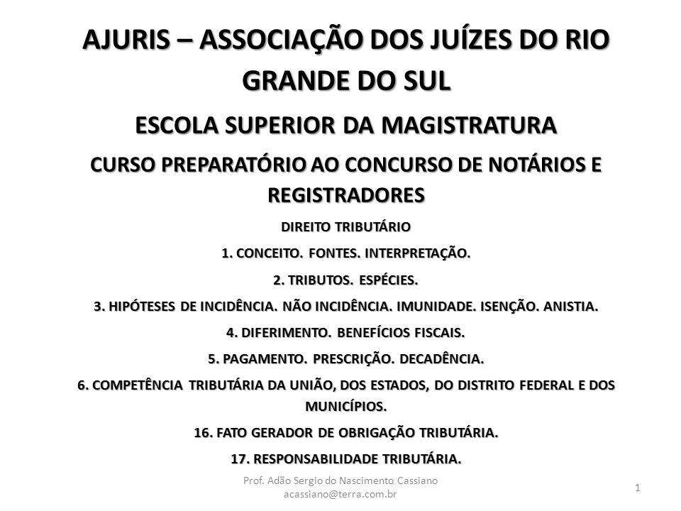 AJURIS – ASSOCIAÇÃO DOS JUÍZES DO RIO GRANDE DO SUL ESCOLA SUPERIOR DA MAGISTRATURA CURSO PREPARATÓRIO AO CONCURSO DE NOTÁRIOS E REGISTRADORES DIREITO