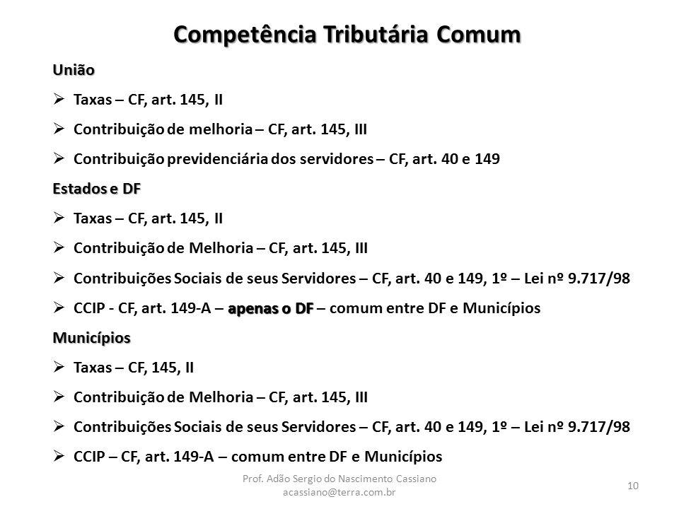 Prof. Adão Sergio do Nascimento Cassiano acassiano@terra.com.br 10 Competência Tributária Comum União  Taxas – CF, art. 145, II  Contribuição de mel