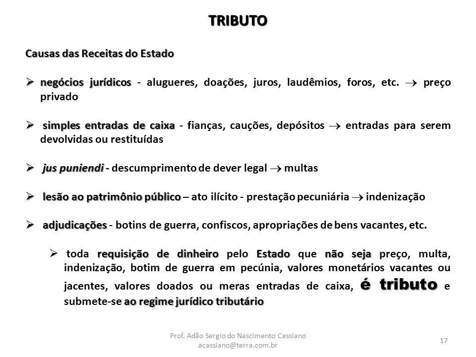 Prof. Adão Sergio do Nascimento Cassiano acassiano@terra.com.br 17 TRIBUTO Causas das Receitas do Estado  negócios jurídicos  negócios jurídicos - a