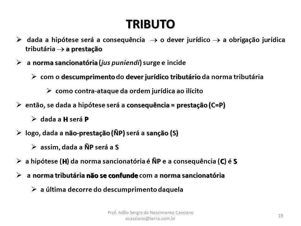 Prof. Adão Sergio do Nascimento Cassiano acassiano@terra.com.br 19 TRIBUTO  a prestação  dada a hipótese será a consequência  o dever jurídico  a