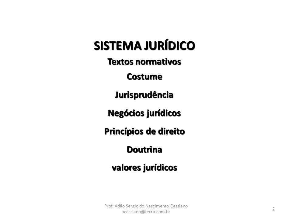 2 SISTEMA JURÍDICO Textos normativos CostumeJurisprudência Negócios jurídicos Princípios de direito Doutrina valores jurídicos