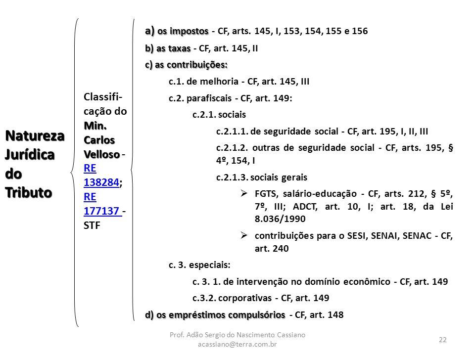 Prof. Adão Sergio do Nascimento Cassiano acassiano@terra.com.br 22 Natureza Jurídica do Tributo Min. Carlos Velloso Classifi- cação do Min. Carlos Vel