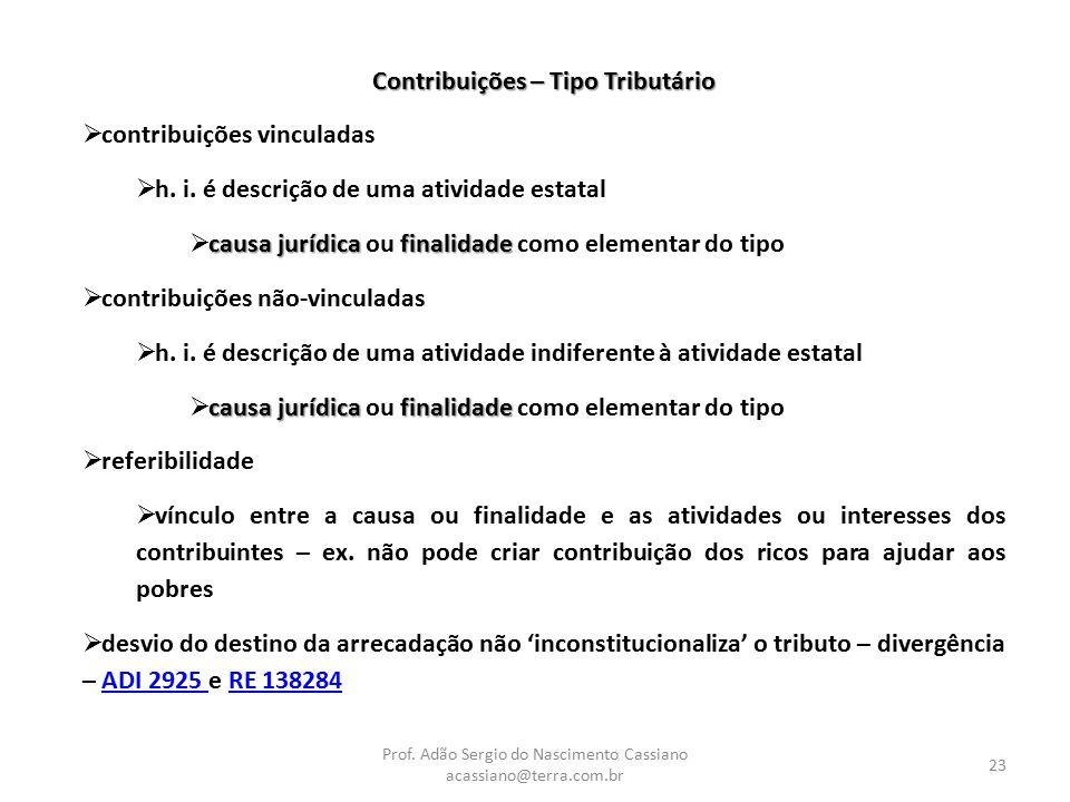 Prof. Adão Sergio do Nascimento Cassiano acassiano@terra.com.br 23 Contribuições – Tipo Tributário  contribuições vinculadas  h. i. é descrição de u