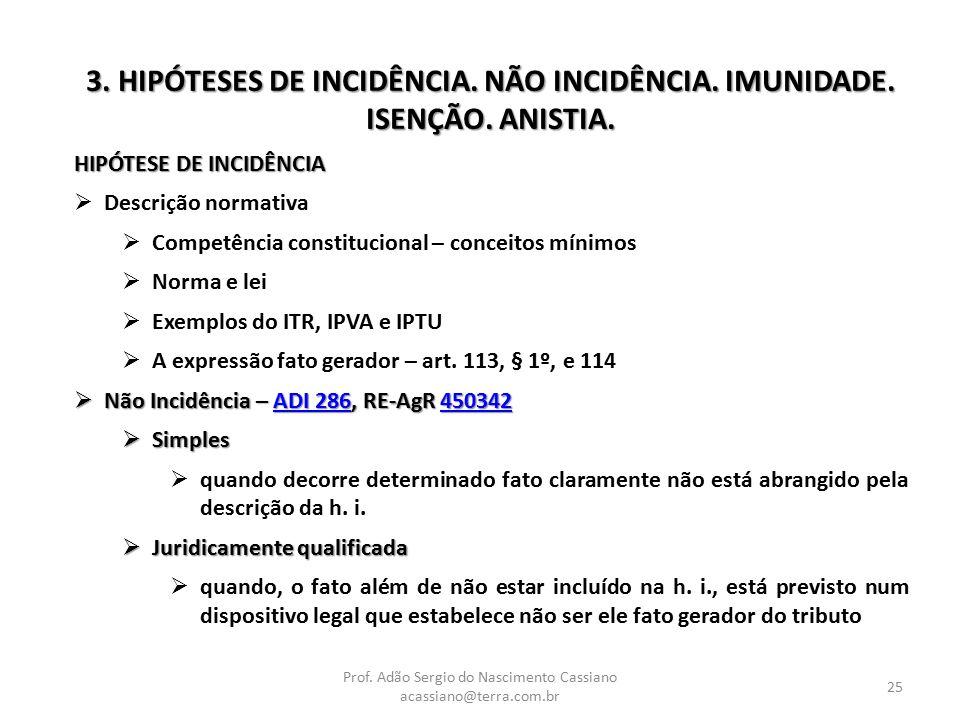 Prof. Adão Sergio do Nascimento Cassiano acassiano@terra.com.br 25 3. HIPÓTESES DE INCIDÊNCIA. NÃO INCIDÊNCIA. IMUNIDADE. ISENÇÃO. ANISTIA. HIPÓTESE D