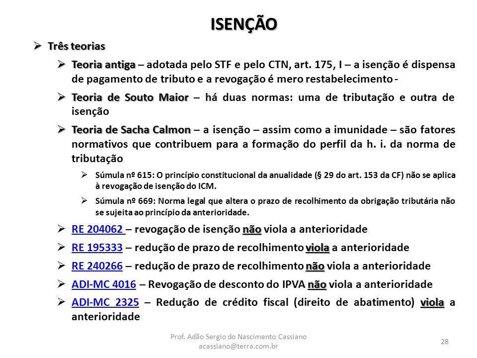 Prof. Adão Sergio do Nascimento Cassiano acassiano@terra.com.br 28 ISENÇÃO  Três teorias  Teoria antiga  Teoria antiga – adotada pelo STF e pelo CT