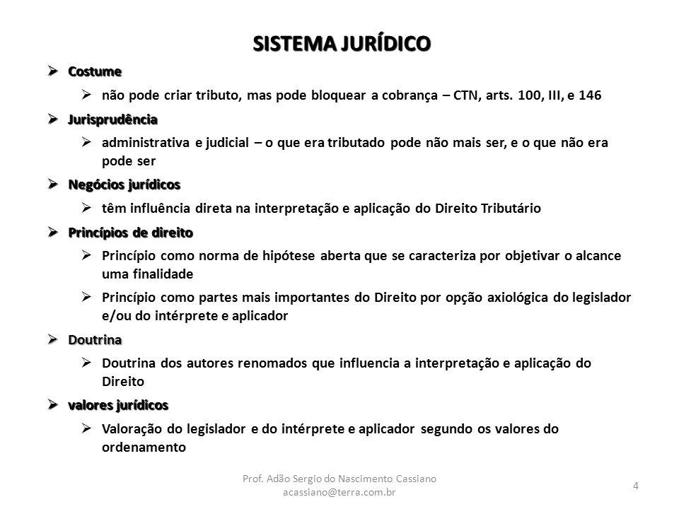 Prof. Adão Sergio do Nascimento Cassiano acassiano@terra.com.br 4 SISTEMA JURÍDICO  Costume  não pode criar tributo, mas pode bloquear a cobrança –