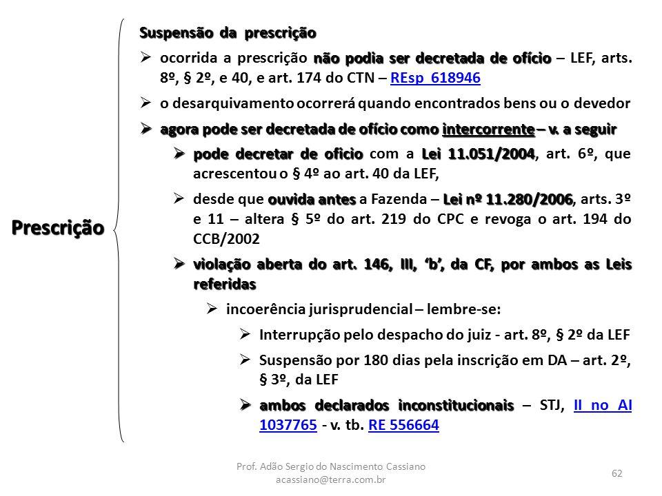 Prof. Adão Sergio do Nascimento Cassiano acassiano@terra.com.br 62 Prescrição Suspensão da prescrição não podia ser decretada de ofício  ocorrida a p