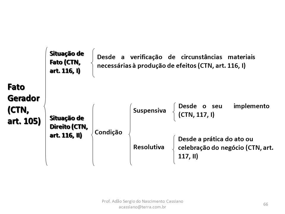 Prof. Adão Sergio do Nascimento Cassiano acassiano@terra.com.br 66 Fato Gerador (CTN, art. 105) Situação de Fato (CTN, art. 116, I) Situação de Direit
