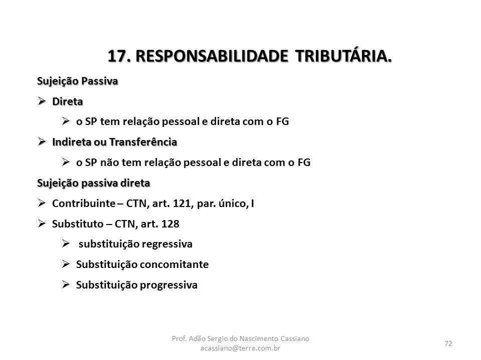 Prof. Adão Sergio do Nascimento Cassiano acassiano@terra.com.br 72 17. RESPONSABILIDADE TRIBUTÁRIA. Sujeição Passiva  Direta  o SP tem relação pesso