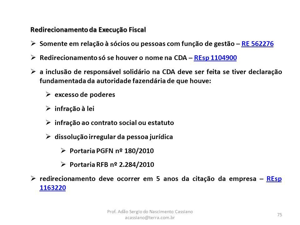 Prof. Adão Sergio do Nascimento Cassiano acassiano@terra.com.br 75 Redirecionamento da Execução Fiscal  Somente em relação à sócios ou pessoas com fu
