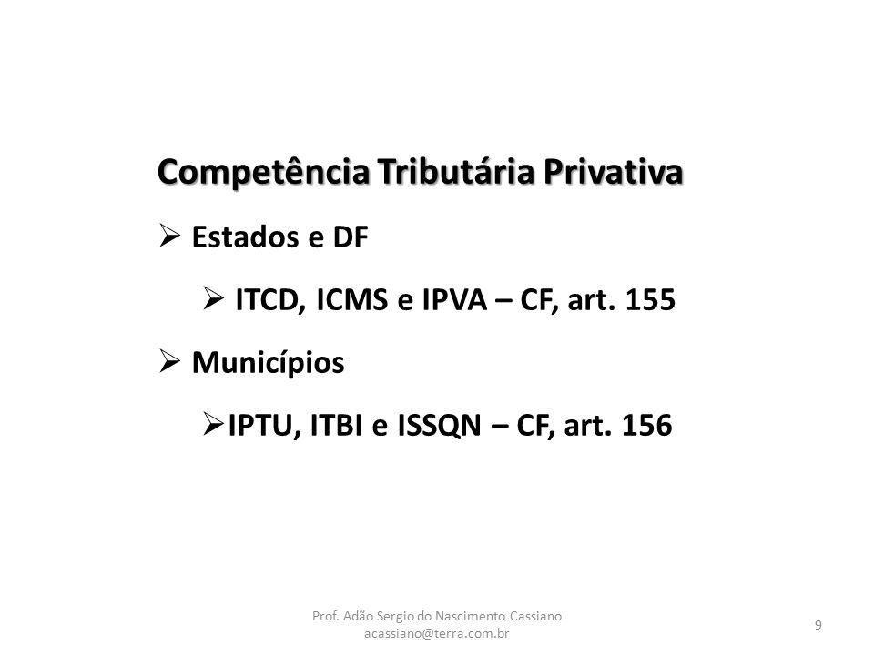 Prof. Adão Sergio do Nascimento Cassiano acassiano@terra.com.br 9 Competência Tributária Privativa  Estados e DF  ITCD, ICMS e IPVA – CF, art. 155 