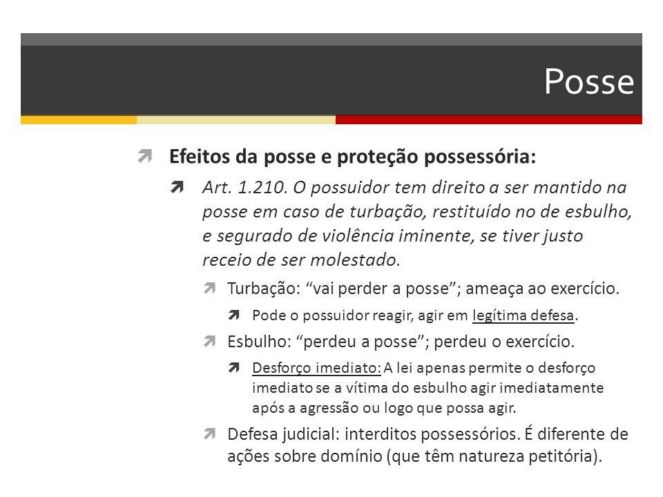 Posse  Efeitos da posse e proteção possessória:  Art. 1.210. O possuidor tem direito a ser mantido na posse em caso de turbação, restituído no de es