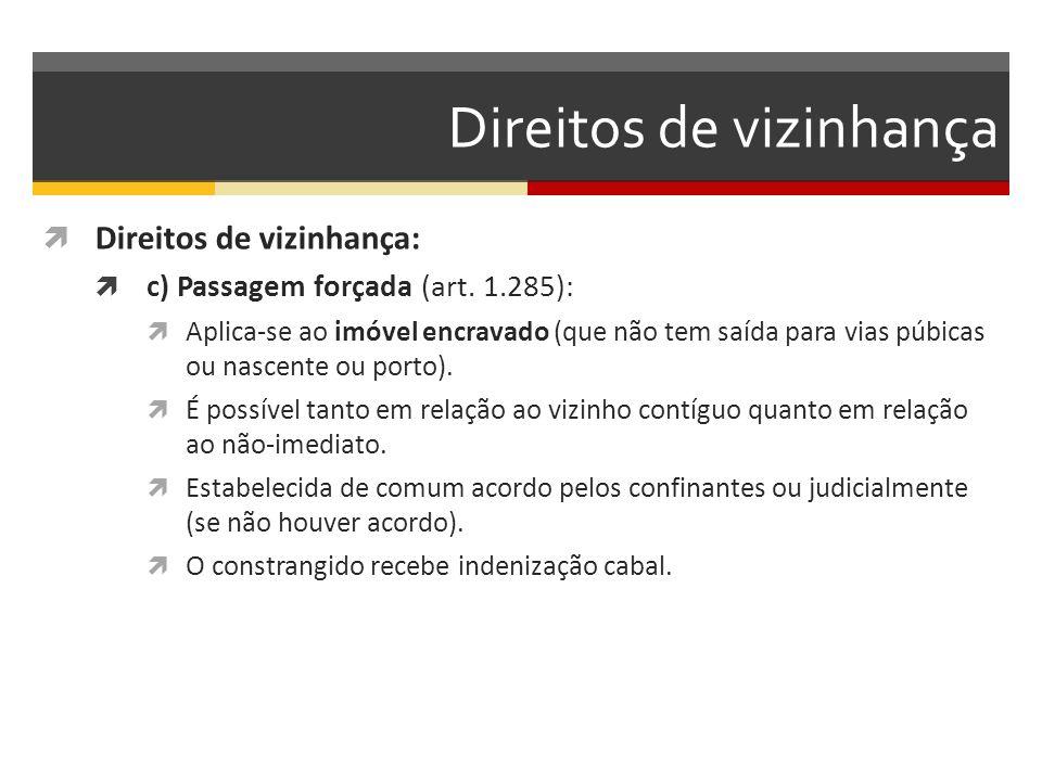 Direitos de vizinhança  Direitos de vizinhança:  c) Passagem forçada (art. 1.285):  Aplica-se ao imóvel encravado (que não tem saída para vias púbi