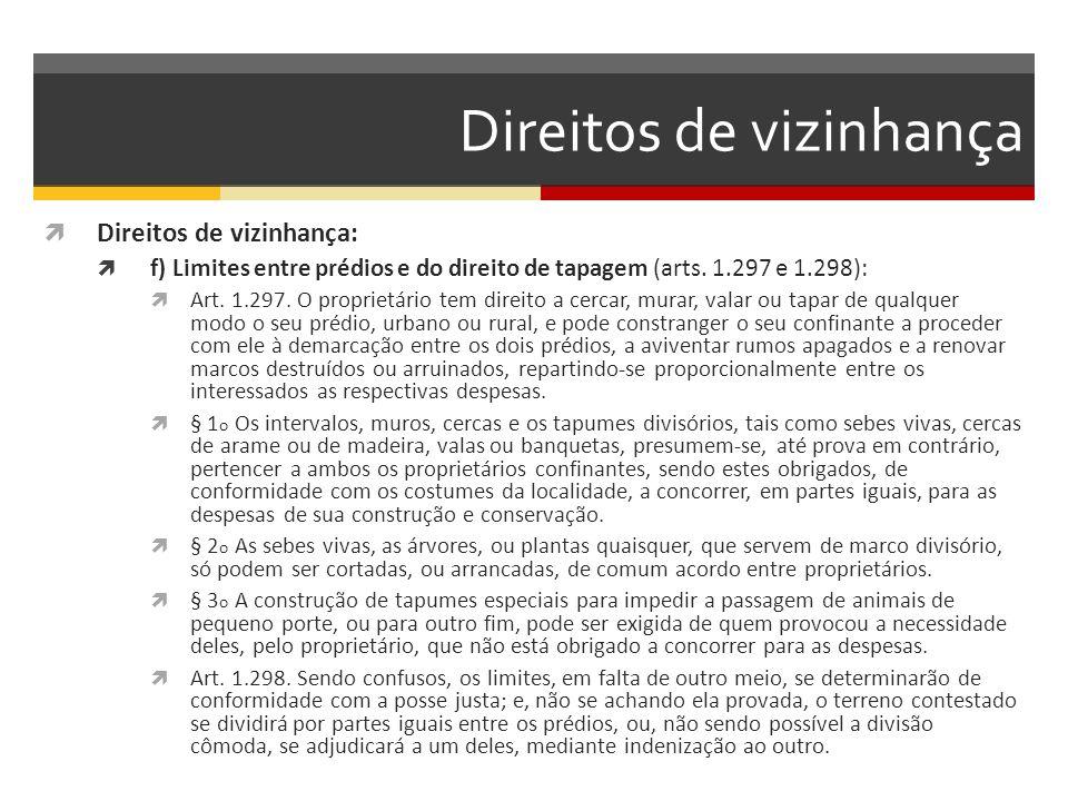 Direitos de vizinhança  Direitos de vizinhança:  f) Limites entre prédios e do direito de tapagem (arts. 1.297 e 1.298):  Art. 1.297. O proprietári